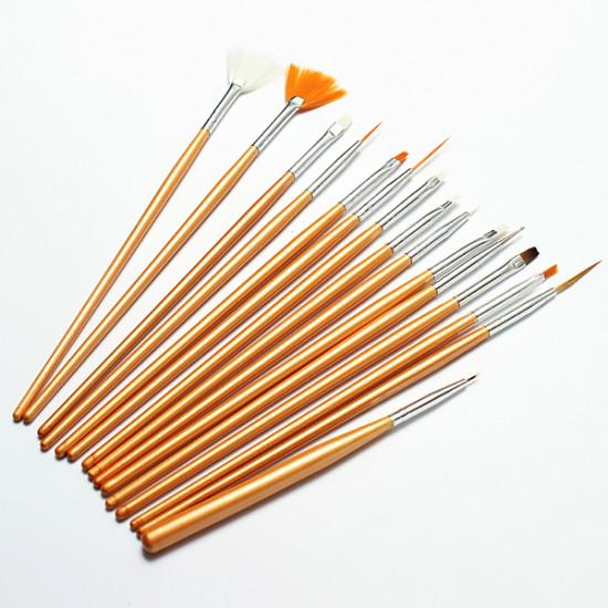 15Pcs Nail Art Acrylic UV Gel Design Brush Set 2021