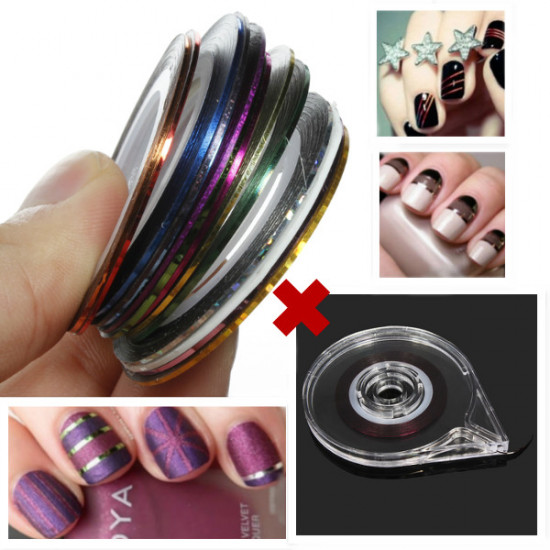 18 Colors Rolls Nail Striping Tape Line Sticker Tray Set 2021