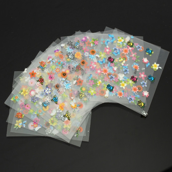 30 Sheet DIY Colorful Nail Art 3D Stickers Tips Flower Decoration Decals 2021