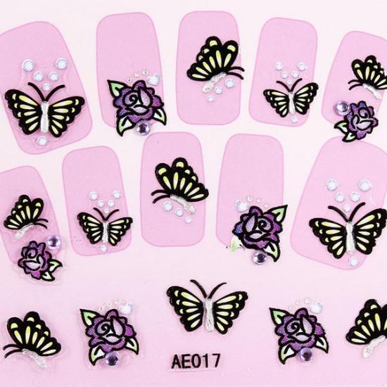 3D Butterfly Rhinestone Nail Decal Sticker Nail Art Decoration 2021