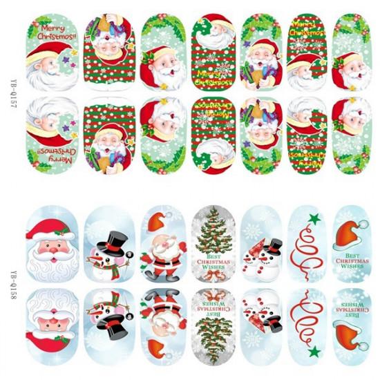 3D Christmas Tree Santa Claus Luminous Nail Full Stickers 2021