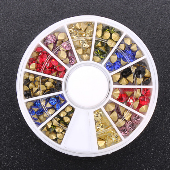 3D Colorful Rhinestone Nail Art Decoration Round Wheel 2021