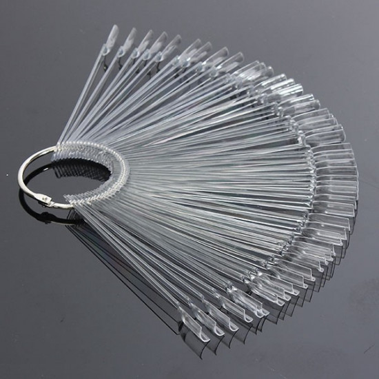 50PCS Transparent Detachable Nail Display Tool Foldable Fan Board 2021