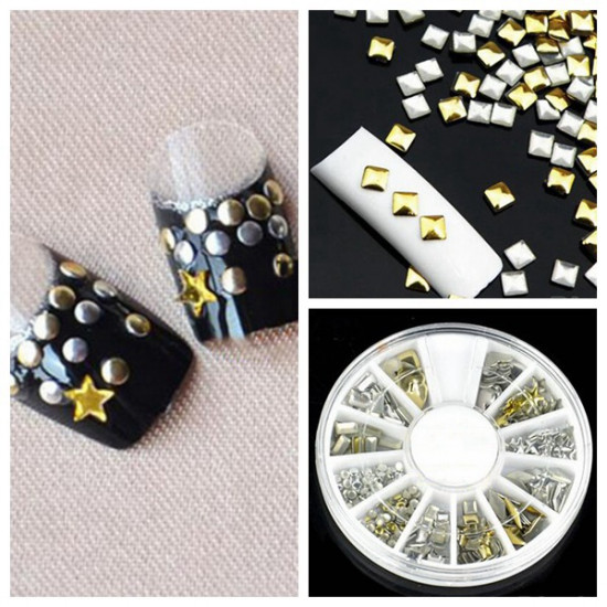 6 Styles Mix Shape Gold Silver Alloy Stud Nail Art Decoration Wheel 2021