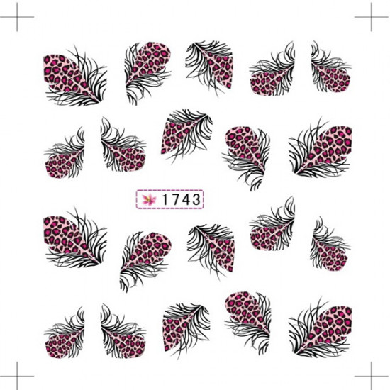Colorful Feather Water Transfer Nail Art Stickers Leopard Nail Decals 2021