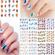 Colorful Glitter Leopard Feather Nail Art Stickers Flower Nail Decals 2021
