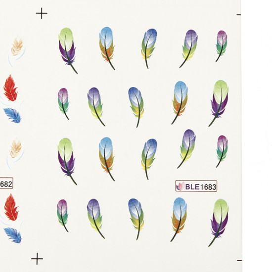Colorful Peacock Feather Nail Art Decal Stickers 2021