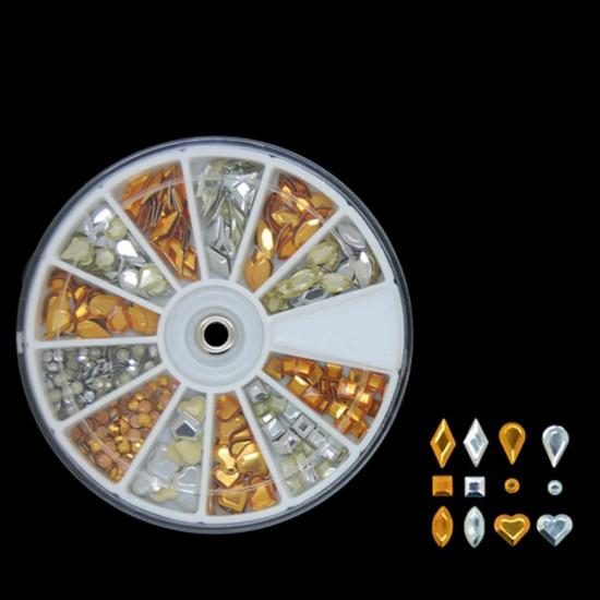 Mix Shape Gold Silver Rhombus Water Drop Metal Nail Decoration Wheel 2021