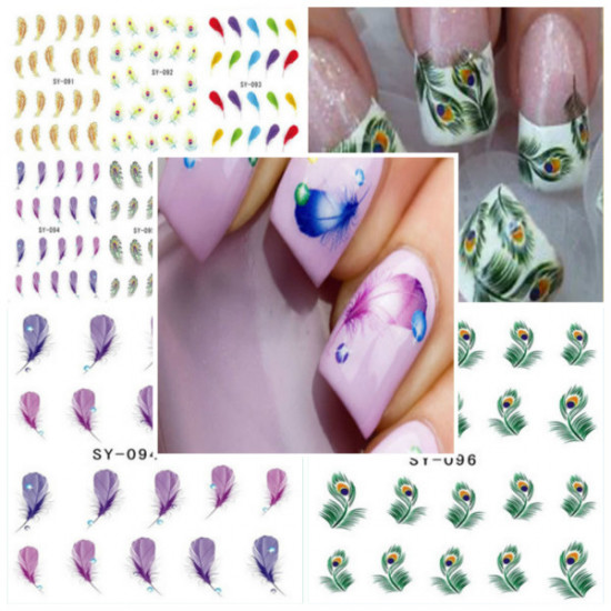 Peacock Feather Nail Art Water Transfers Decals Stickers 2021