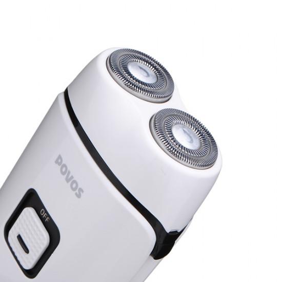 POVOS PQ3100 Dual-blade Rotary Heads Shaver White Electric Razor 2021