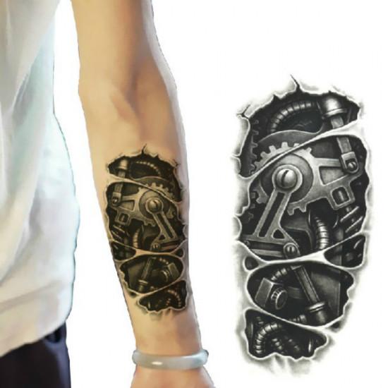 3D Machine Pattern Arm Waterproof Temporary Transfer Tattoo Sticker 2021
