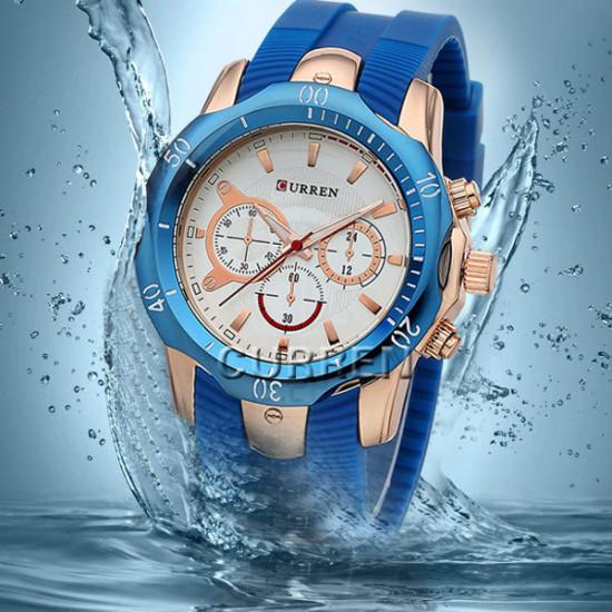 CURREN 8163 Vintage Silicone Waterproof Quartz Sport Watch 2021