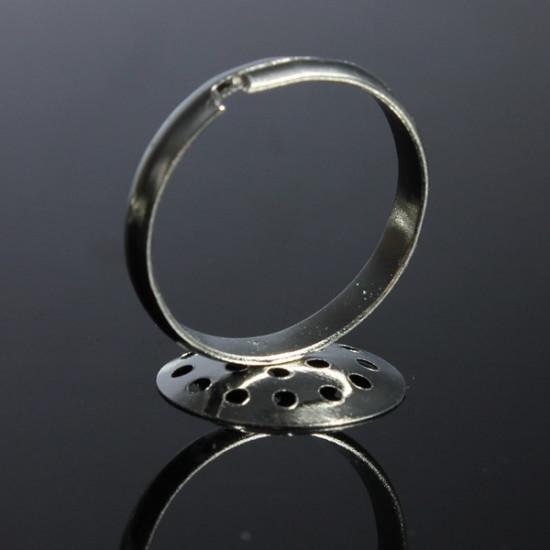 10Pcs 15mm DIY Silver Plated Adjustable Ring Blanks Pad Bases 2021