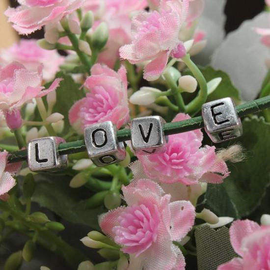 200pcs 6mm Silver Acrylic Letter Alphabet Beads DIY Craft Bracelet 2021