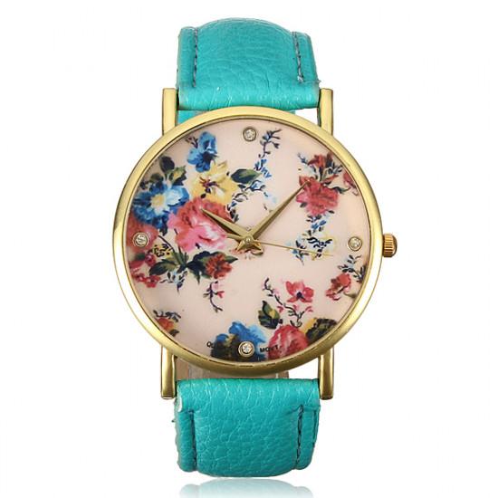 Antique Women Flower PU Leather Strap Antique Quartz Wrist Watch 2021