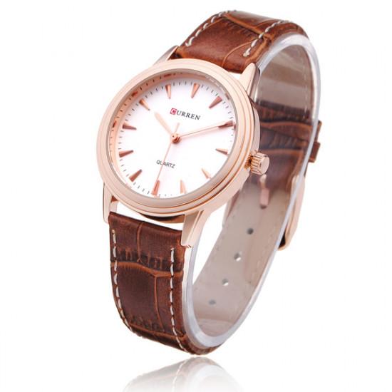 Curren 8119 Brown PU Leather Round Gold Women Quartz Wrist Watch 2021