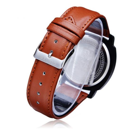 Guote Black PU Leather Number Big Dial Men Wrist Quartz Watch 2021