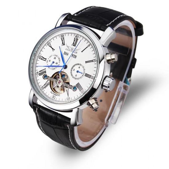 JARAGAR Luxury Skeleton Automatic Mechanical Leather Men Wrist Watch 2021