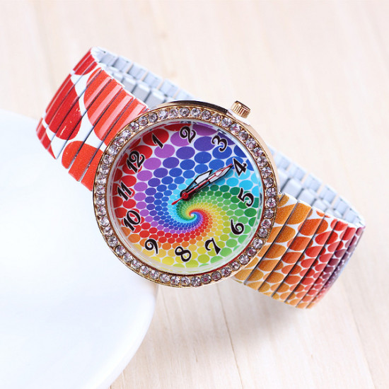 Rainbow Pattern Printed Elastic Stainless Steel Band Watch 2021