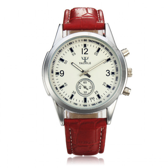 YAZOLE 295 Leather Band Independent Second Hand Quartz Watch 2021
