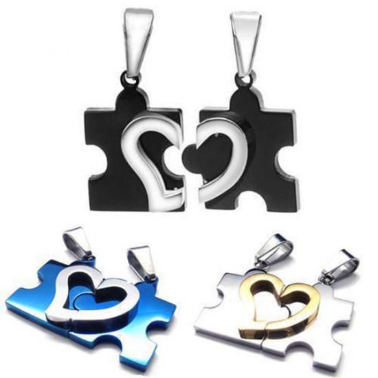 1 Pair Stainless Steel Heart Puzzle Pendant Necklaces Men Women 2021