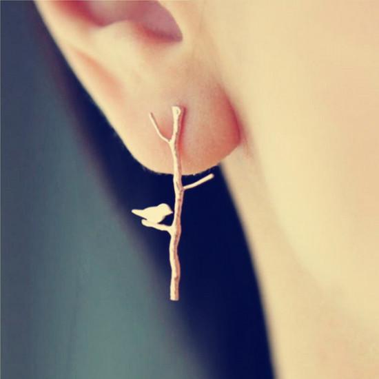 1 Pair Vintage Gold Tree Branches Lovely Bird Ear Stud Earrings 2021