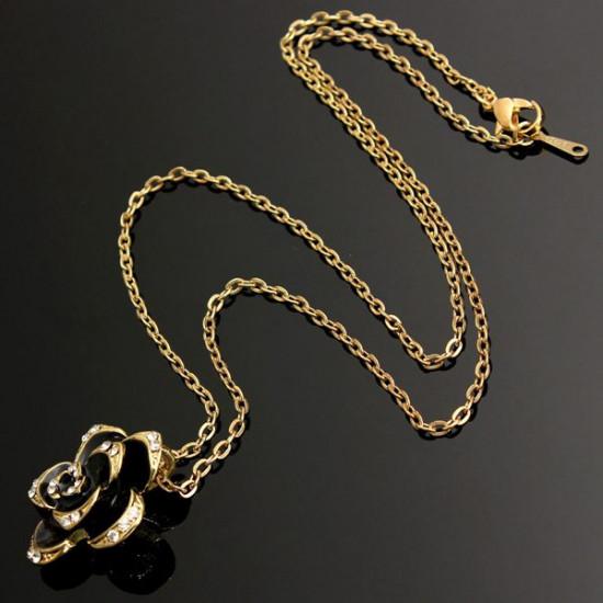 Black Enamel Rose Flower Chain Pendant Necklace Women Jewelry 2021