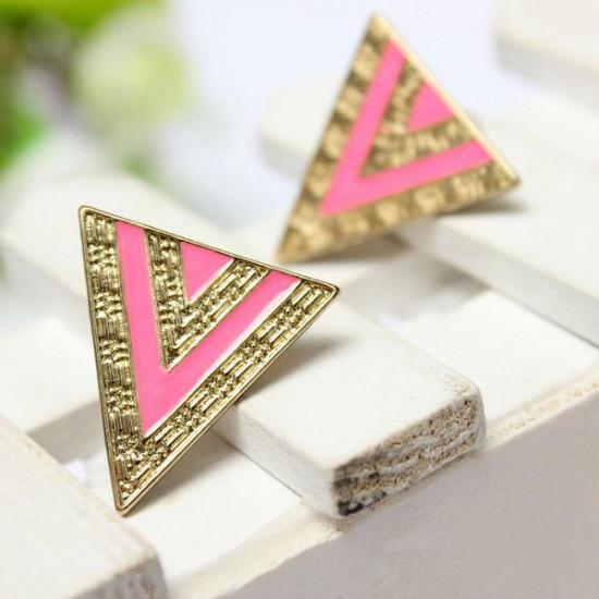 Black Pink Enamel Alloy Triangle Stud Earrings For Women 2021