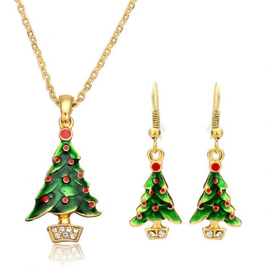 Christmas Tree Santa Claus Enamel Jewelry Set Necklace Earrings 2021