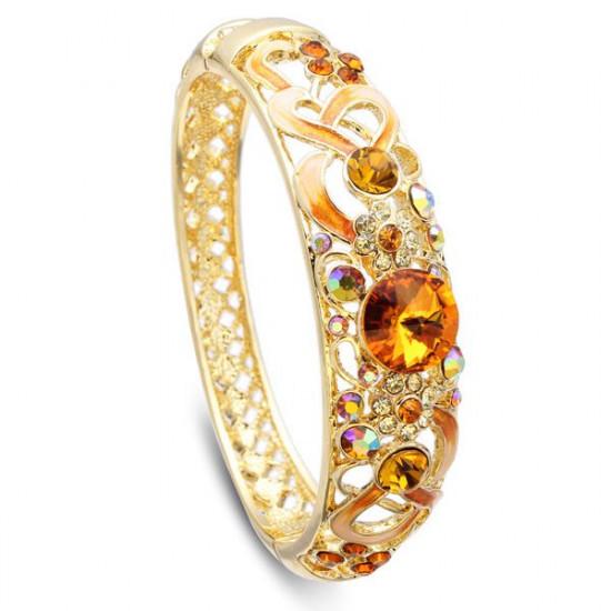 Cloisonné 18K Gold Plated Crystal Enamel National Wind Bangle Bracelet 2021