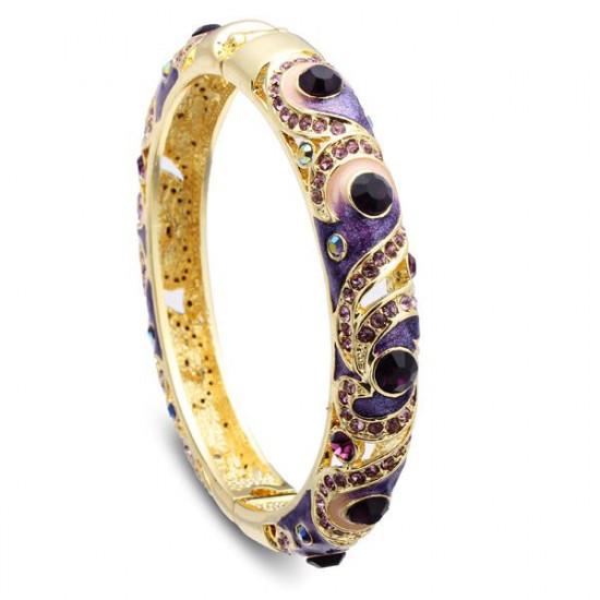 Cloisonné 18K Gold Plated Rhinestone Enamel National Wind Bracelet 2021