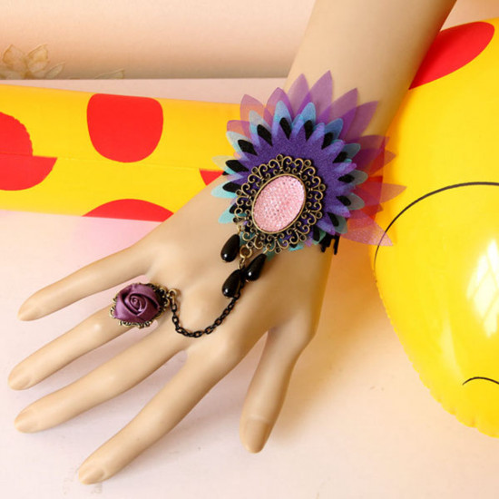 Colorful Peacock Lace Flower Crystal Ring Bracelet Wristband 2021