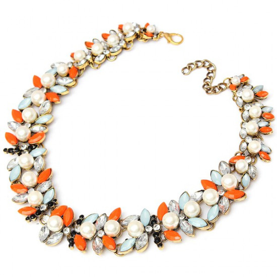 Colorful Pearl Crystal Leaf Bib Statement Necklace Choker Metal Chain 2021