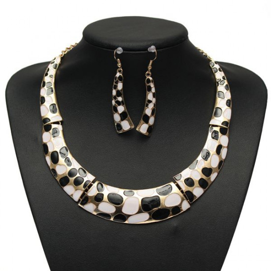 Enamel Geometric Crescent Earrings Pendant Necklace Women Jewelry Set 2021