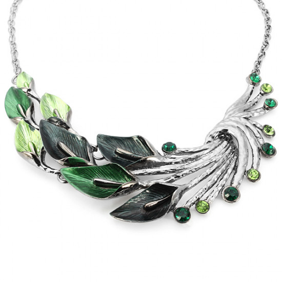 Enamel Leaf Peacock Crystal Necklace Earrings Jewelry Set For Women 2021