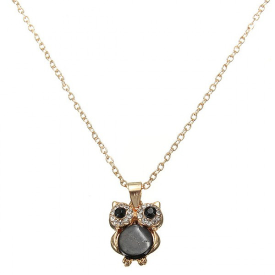 Gold Plated Crystal Rhinestone Owl Black Shell Pendant Necklace 2021