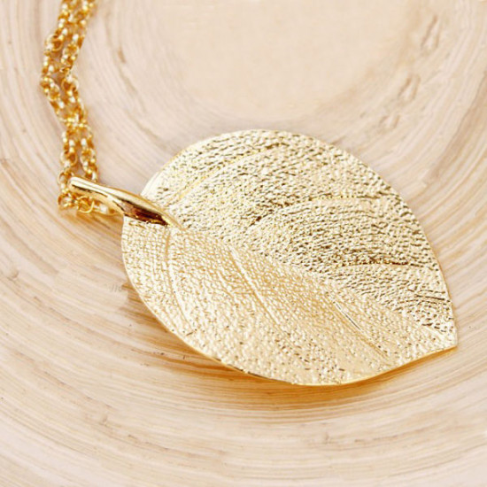 Gold Plated Leaf Pendant Long Chain Sweater Necklace For Women 2021