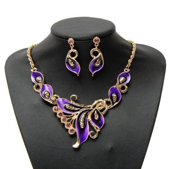 Gold Plated Rhinestone Enamel Flower Earrings Necklace Jewelry Set 2021