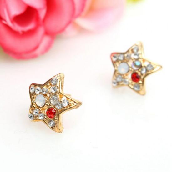 Lovely Colorful Rhinestone Crystal Star Stud Earrings For Women 2021