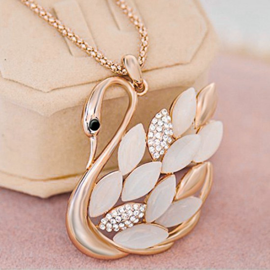 Opal Rhinestone Gold Swan Pendant Sweater Chain Necklace For Women 2021