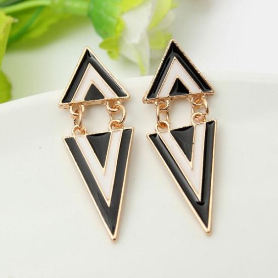 Punk Vintage Enamel Geometric Triangle Dangle Stud Earrings For Women 2021