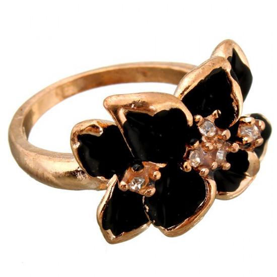 Rose Gold Plated Crystal Black White Enamel Flower Ring For Women 2021