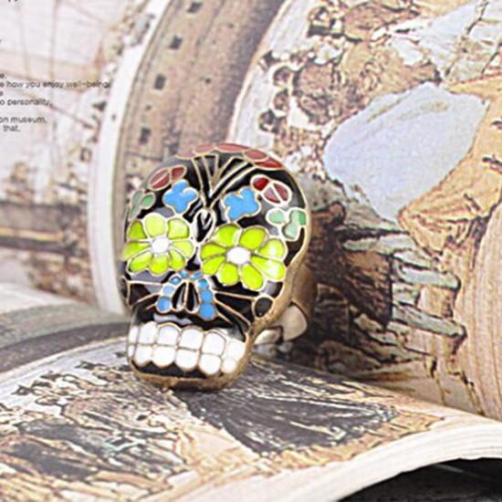 Vintage Colorful Peking Opera Mask Skull Enamel Flower Finger Ring 2021