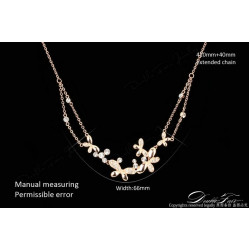 Gold Plated Austrian Crystal Butterfly Double Chain Pendant Necklace