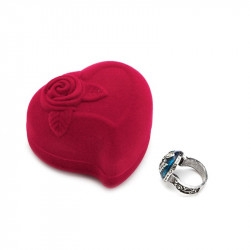 Red Velvet Heart Round Jewelry Box Ring Earrings Display Case