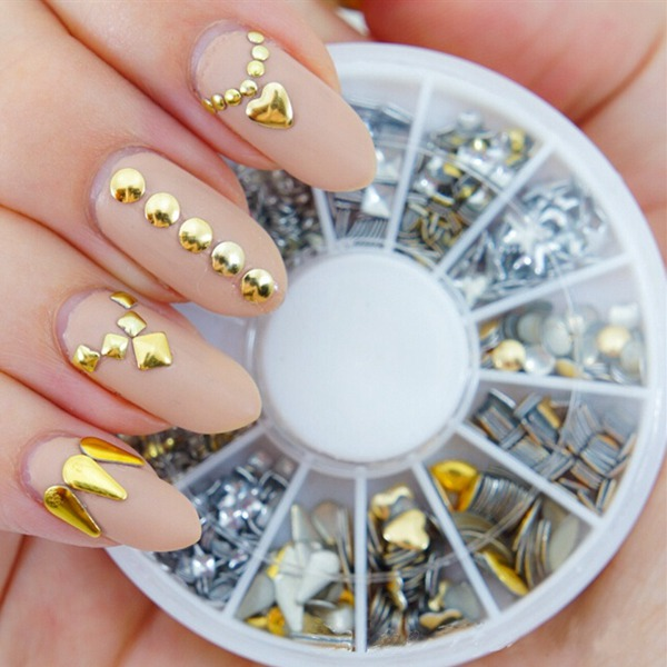 Buy 6 Styles Mix Shape Gold Silver Alloy Stud Nail Art Decoration