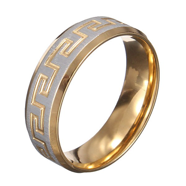 1f9a560399043 Gold Silver Great Wall 316L Stainless Steel Men Ring Jewelry