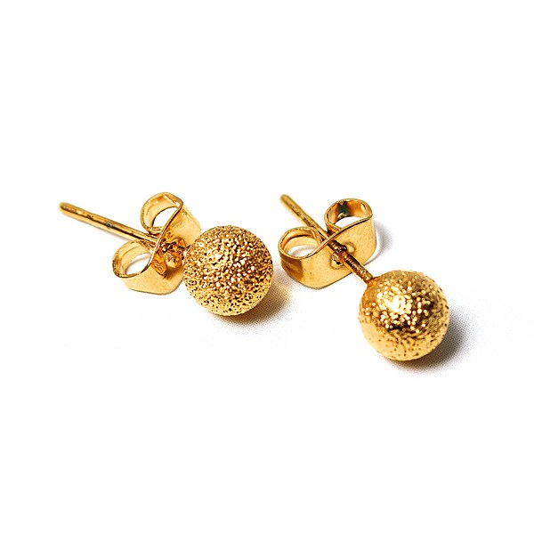 14k Gold Plated Globular Ball Stud Earrings Women