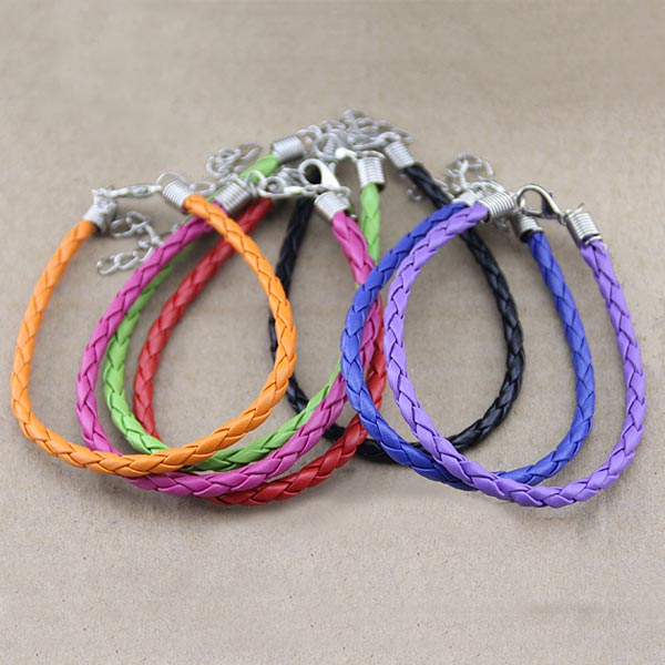 Diy Candy Color Pu Leather Cord Bracelet Handmade Jewelry Women