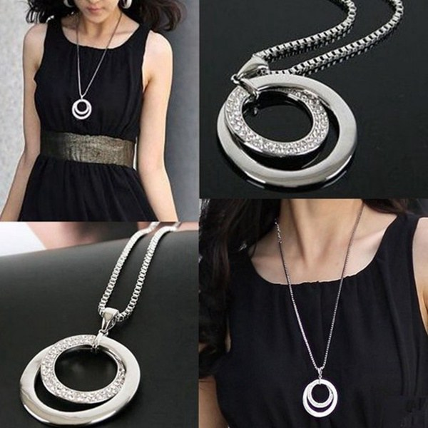 Silver plated crystal rhinestone double circle long pendant 1due to the difference between different monitors the picture may not reflect the actual color of the item please consider this before the purchase aloadofball Images
